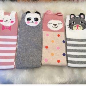 Animal Knee High Socks 4 Pair Bundle Lot